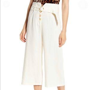 June & Hudson High Waist Belted Linen Culotte